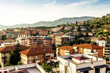 View above Lerici, Liguria, Italy. Stock Photo