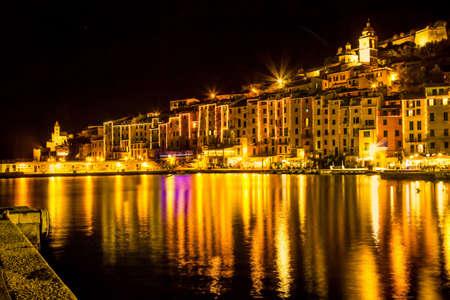Scenic old Portovenere in the night, Liguria, Italy.