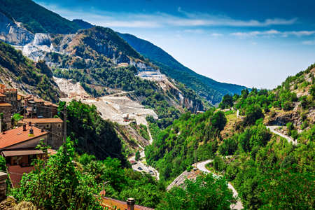 Rocky mountains with marble quarries, the Apennine mountains, Tuscana province, near Carrara, Italy.