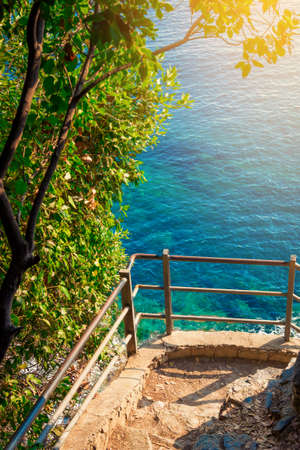 Balcony on the pathway along the sea in Cinque Terre national park, Italy. Stock Photo