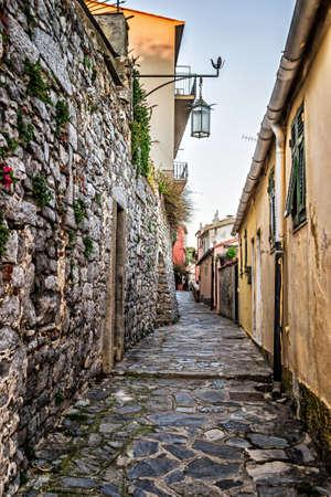 Ancient narrow lane in Portovenere, Liguria, Italy. Stock Photo