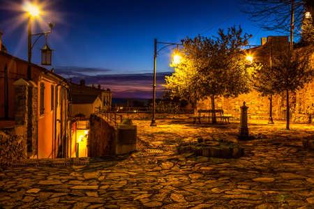 Old square in the night in Portovenere, Italy. Stock Photo