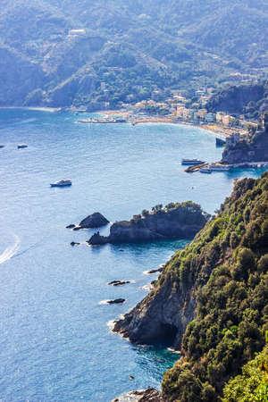 Beautiful view of rocky coast and Monterosso al Mare, Cinque Terre, Italy.