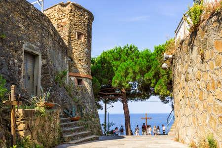 Architecture in Riomaggiore, Cinque Terre, Italy. Stock Photo