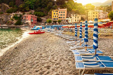 Sand beach in Monterosso, Cinque Terre, Italy. Stock Photo