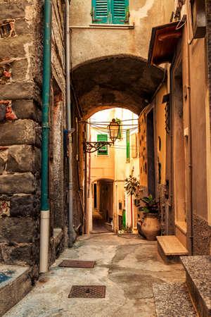 Old lane in Riomaggiore, Cinque Terre, Italy. Stock Photo