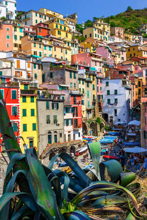 Picturesque town of Riomaggiore in Cinque Terre National park, Italy.