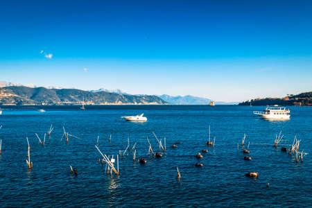 Oyster sea farm in Portovenere, Liguria, Italy.
