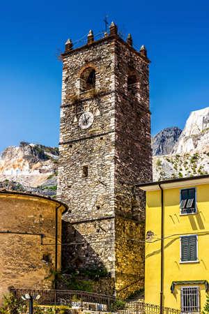 Colonnata village tower in Massa-Carrara, Tuscany, Italy.