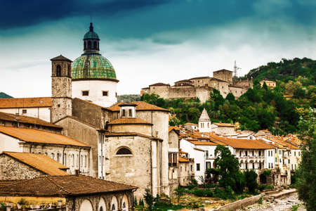 View of scenic old Pontremoli village, Ligurian province, Italy. Stock Photo