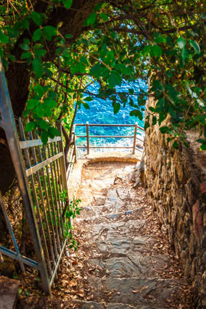 amore: Stairs to the sea in Cinque Terre national park, Italy.