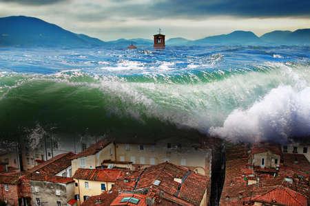 큰 파도가 도시 위에 충돌. 세계적인 홍수.