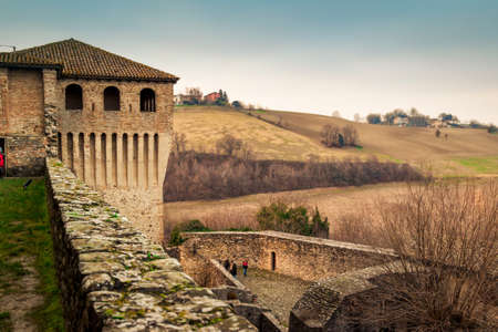 bastion: Historic medieval Torrechiara castle in Emilia-Romagna region, Italy. Stock Photo