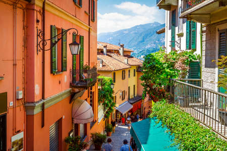 Old scenic street in Bellagio, Como lake, Italy.