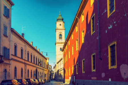 Street in old town of Parma, Emilia-Romagna, Italy.