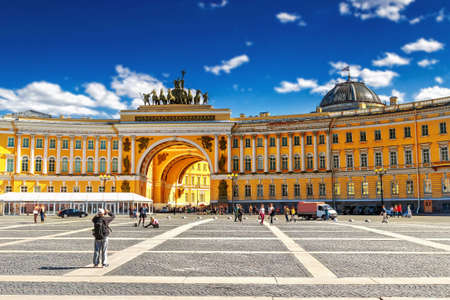 Palace Square and General Staff building in St. Petersburg, Russia.