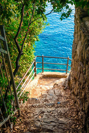 Balcony with view of the sea in Cinque Terre national park, Italy.