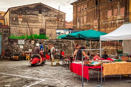 SARZANA, ITALY - AUGUST 10, 2015: Street fair of antique objects in Sarzana, Italy.
