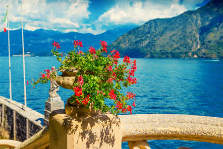Vase with flowers on the terrace with view of Como lake, Italy