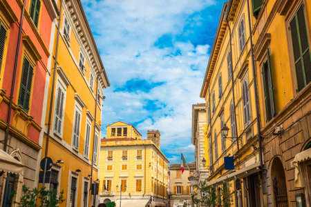 Old streets in Sarzana town, Italy