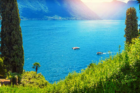 View of beautiful Como lake. Scenic landscape in Italy Stock Photo