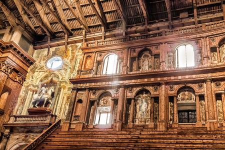 PARMA, ITALY - JANUARY 05, 2016: Historic Farnese theatre located in Palazzo della Pilotta in Parma, Emilia-Romagna, Italy. Pilotta palace was built in 1618.
