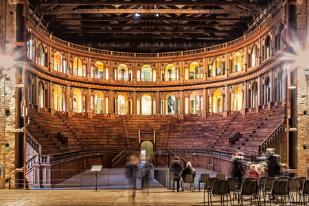 PARMA, ITALY - JANUARY 05, 2016: Historic Farnese theatre located in Palazzo della Pilotta in Parma, Emilia-Romagna, Italy. Pilotta palace built in 1618.