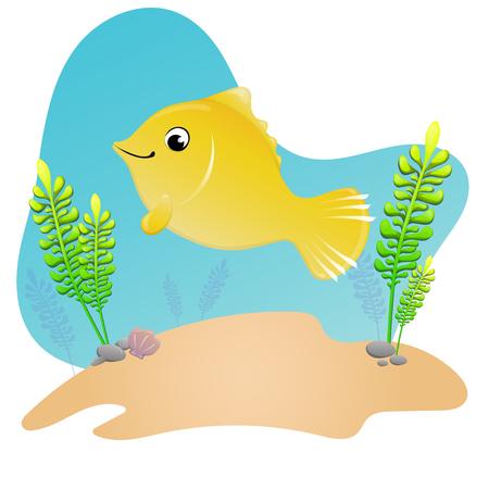 children's illustration - funny fish under water Standard-Bild - 118961760