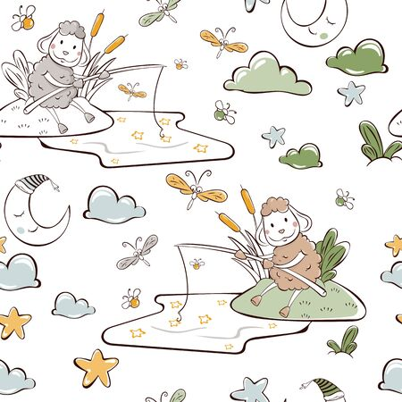children's vector illustration. seamless pattern. sheep catches stars