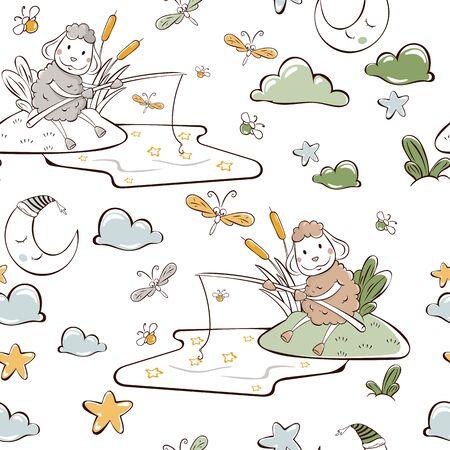 children's vector illustration. seamless pattern. sheep catches stars