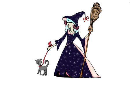 Illustration of witch witch cat on the Halloween illustration