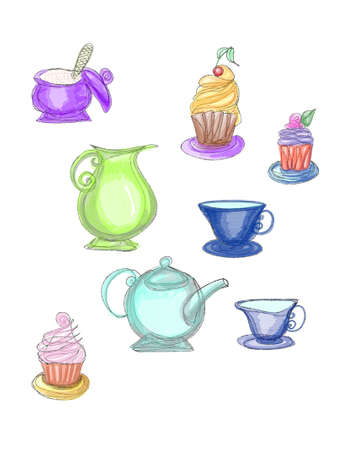 Colorful cupcakes and tea-service drawn by pencil and watercolor