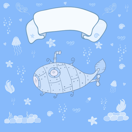 ocean floor: Submarine on the ocean floor with space for text - concept card. Sweet congratulation card in vector Illustration