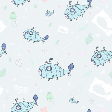 ocean floor: Sweet submarine on the ocean floor an endless pattern in vector Illustration