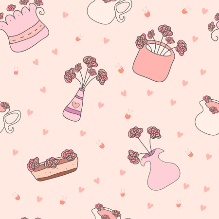 house plants: Cute floral seamless pattern made of different house plants in pink colors. Hand Drawn lovely natural background made in vector
