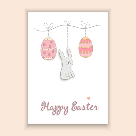 terrarium: Hand Drawn lovely rabbit and eggs - Happy Easter concept card, made in vector
