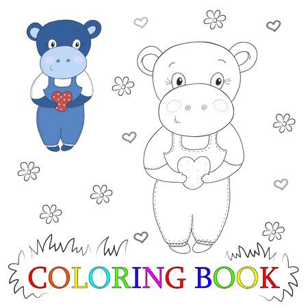 De Dibujos Animados Hipopótamo Lindo Con La Ilustración Del Corazón ...