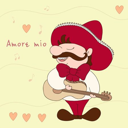 amore: My love (Amore mio). Mexican with sombrero and guitar. Sampl comic illustration. Mexican tradition