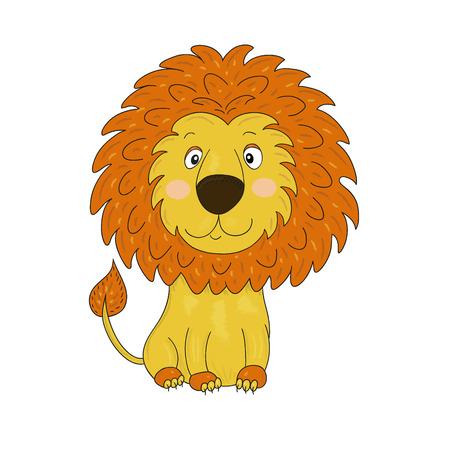 Cute lion cartoon illustration. Childrens illustration Ilustração