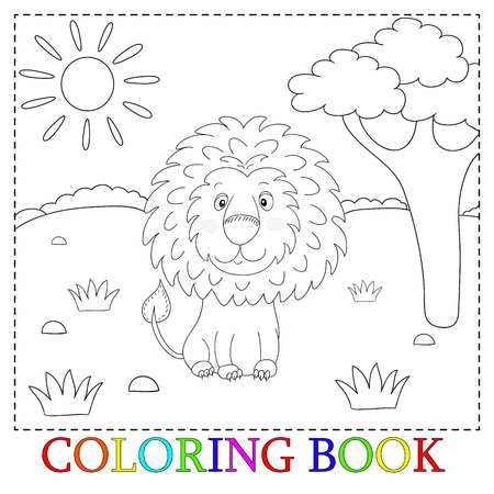 Cute lion cartoon with heart illustration. Color and contour, coloring book.