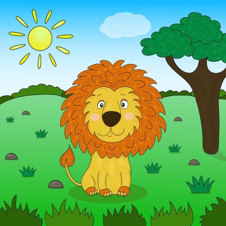 Cute lion cartoon in the jungle, illustration