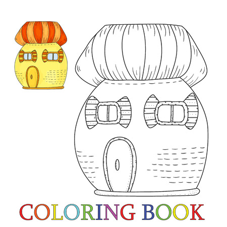 old notebook: Fairytale colorful cute house in cartoon style. Color and contour, coloring book Vector illustration