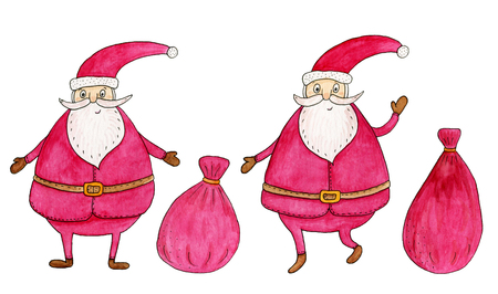 white bacjground: Set of Santa Claus. Watercolor hand drawn illustration.