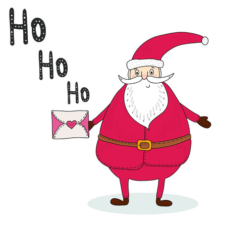 Santa Claus with a letter. Congratulation retro background. Printable template