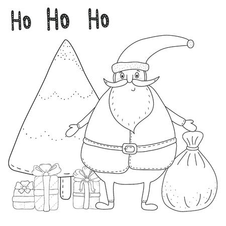 Muster Für Malbuch. Weihnachten Hand Gezeichnet Dekorative Elemente ...