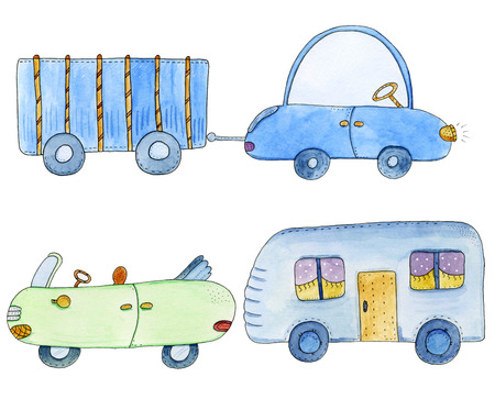 trailers: Cute set with cars and trailers in cartoon style. Watercolor hand drawn illustration.