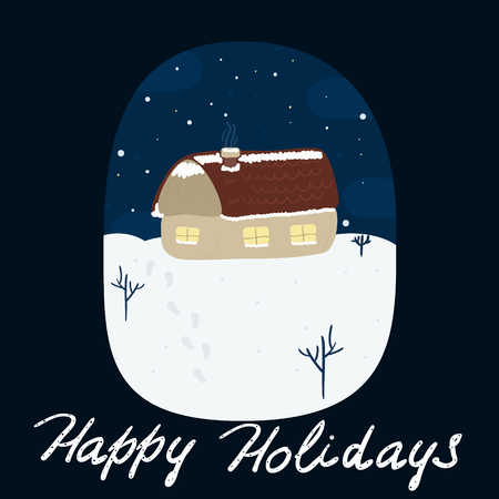 card house: Happy Holidays card House on the hill in winter. Printable templates.