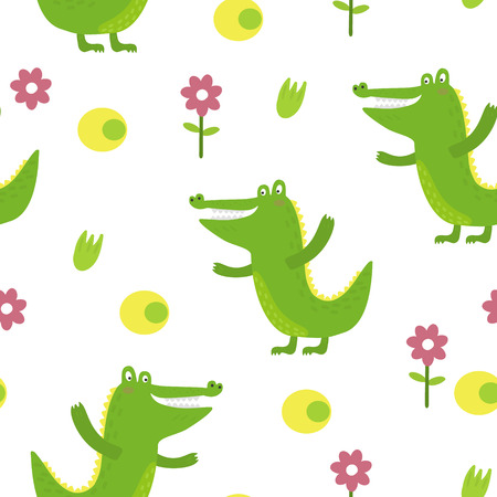 Cute little crocodile in cartoon style. Vector pattern.