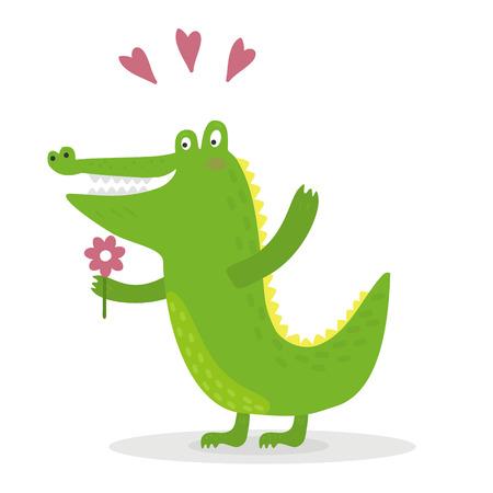 funny cute crocodile cartoon style. vector print.