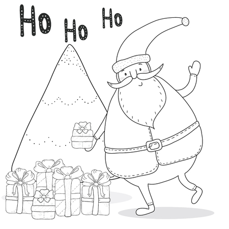 christmas coloring page with santa claus christmas tree gift boxes stock vector 67966469